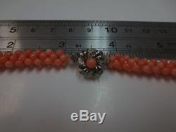 Vintage Silver Clasp Angel Skin Coral Bead Graduated Necklace 23.5