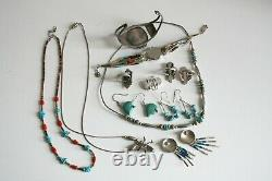 Vintage Southwest Jewelry Lot sterling silver turquoise bead some Native made