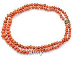Vintage Sterling Silver Salmon Coral Round Beaded Double-Strand Necklace 35.1G