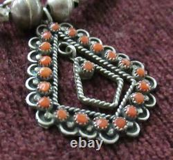Vintage Sterling Zuni Bench Beads Necklace 19.5 Inches, 26 Grams