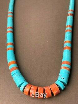 Vintage Turquoise Coral Heishi Thick Disc Bead Navajo Sterling 18 Necklace