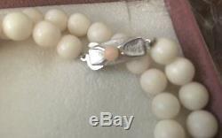 Vintage White Angel Skin Coral Bead Necklace 35 Grams 16 Choker Estate Find