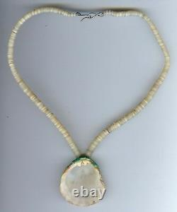 Vintage Zuni Indian Heishi Bead Turquoise Coral Onyx Mosaic Shell Necklace