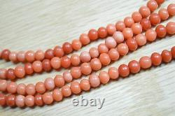 Vintage c. 1950 Two Strand Coral Bead Necklace 31 inches DMD X545B
