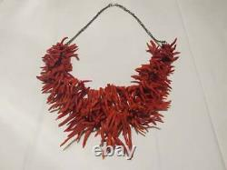 Vintage genuine naturel 3 coral necklace branches beads old jewelry GIFT Morocco