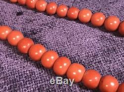 Vintage natural red coral bead (8-15 mm) necklace 172 g 12K gold