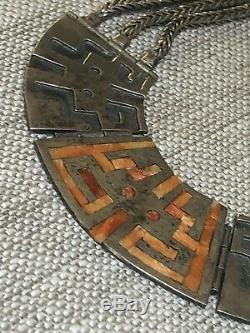 Vintage style STERLING NECKLACE AZTEC/ MAYAN MOTIF SODALITE BEADS CORAL INLAY