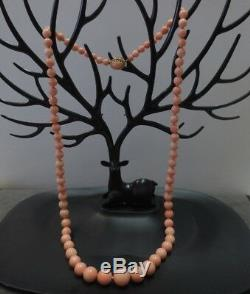 Vtg 14k Angel Skin Coral Beads Necklace 28 Hand Knotted 5-13mm Graduated Beads