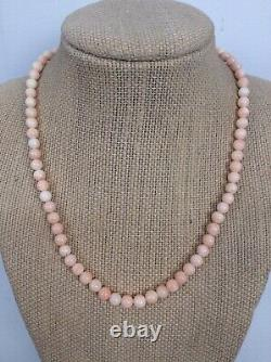 Vtg Angel Skin Coral Round Bead Barrel Clasp necklace 16