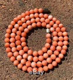 Vtg Chinese Carved Angel Skin Pink Salmon Coral 6mm Ball Bead Necklace 24