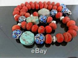 Vtg Chinese Coral Turquoise Cloisonne Silver Big Beads Long Necklace
