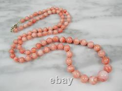 Vtg Chinese Natural Pink Angel Skin Coral Beaded Necklace 14k Gold Clasp 22 3/4