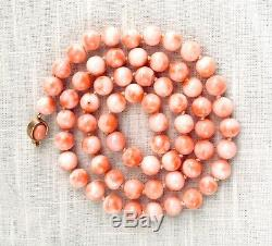 Vtg Hand Knotted String of Pink Angel Skin Coral 9mm Bead Necklace, 26 As Is