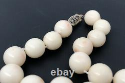 Vtg Natural Angel Skin Coral 12mm -19.5mm Graduated Ball Bead Necklace 21 -131g