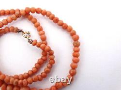 Vtg Natural Angel Skin Pink SALMON CORAL Graduated Bead Necklace 14k Gold Clasp