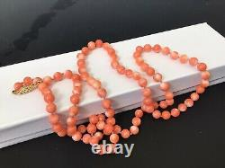 Vtg Natural Salmon Angel Skin Coral Bead Necklace 29 36.8 g 14k Gold Clasp