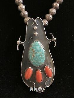 Vtg Turquoise Coral Pendant Navajo Bead Sterling Silver Necklace & Ring