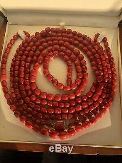 Whole Sale Antique Natural Coral Blood Red Coral Bead Coral Necklace 231 Gram
