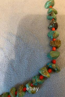 Wonderful Native American Green Turquoise Nuggets Coral Beads Necklace Hand Made