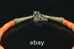 Wonderful Quality Tibetan Antique Coral Beaded Necklace Antique Solid Silver