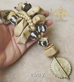 XL CORAL Raw Tan Tiger Ocean Chunky Statement Necklace Zebra Batik African Beads