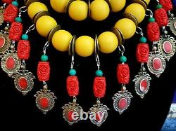 Yellow Oversized Beaded Statement Necklace KATROX Waziri Waterfall Bold Chunky