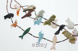 Zuni 3 Strand Heishi Bead Lapis Coral Turquoise Onyx Animal Fetish Necklace