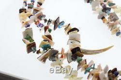 Zuni 3 Strand Heishi Bead Turquoise Coral Amethyst Lapis Animal Fetish Necklace